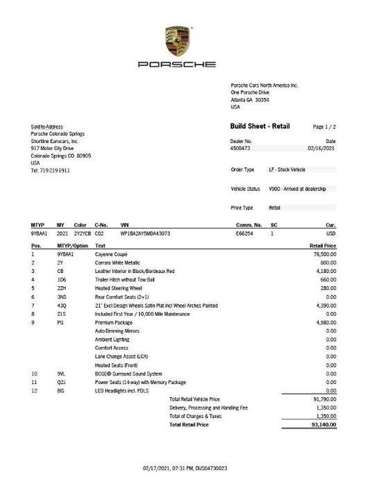 new 2021 Porsche Cayenne car, priced at $93,140